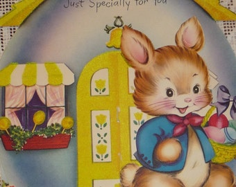 Dressed Rabbit and His Flocked Egg House Vintage 1950s GIBSON Stand Up Easter Card