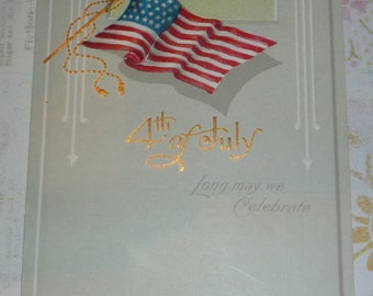 4th of July American Flag NASH Antique Postcard
