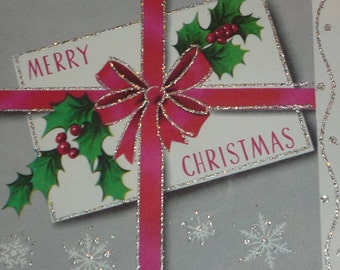 Vintage 1950s Red Bow Merry Christmas Greeting Card