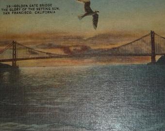 NEW Listing**Golden Gate Bridge in the Setting Sun Vintage 1930s Postcard