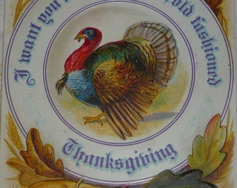 Blue and White Turkey Plate With Pumpkin, Corn and Fruits Antique NASH Thanksgiving Postcard