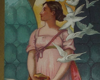 1880s Prang Victorian Antique  Easter Card - Lady With White Doves