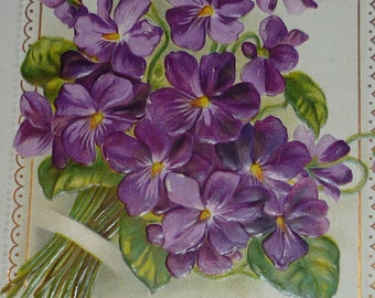 Lovely Violet Bouquet Antique Birthday Postcard