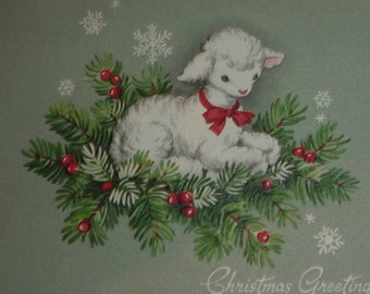 Little Lamb Sitting on Pine Branches Vintage Christmas Greeting Card
