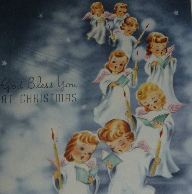 Parade of Singing Angels Vintage 1940s Christmas Card