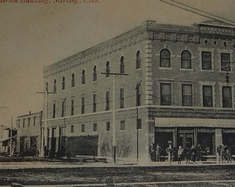 Sterling, Colorado Henderson Building Rare Street View Antique Postcard