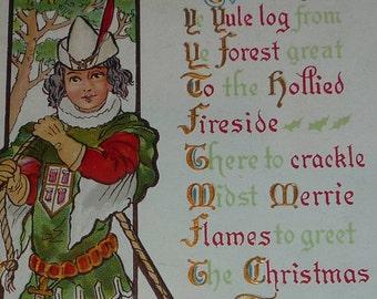 Huntsman Bringing Home a Yule Log Antique NASH Christmas Postcard