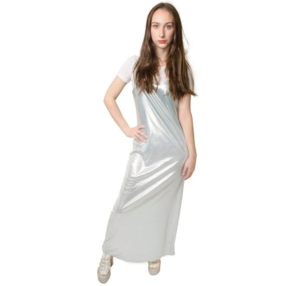 1990s Metallic Slip Dress Pastel Grunge Maxi Baby