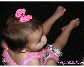 Hot Pink Mini Rosette Bow Clip