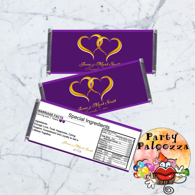 Printable Wedding Candy bar wrapper/hearts