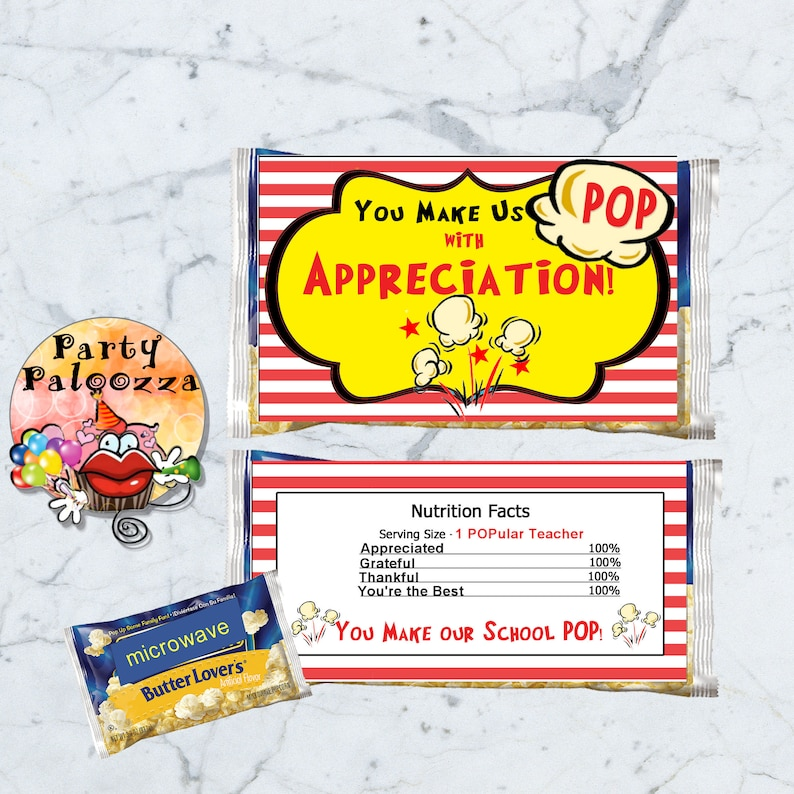 picture about Popcorn Teacher Appreciation Printable referred to as Printable Trainer Appreciation Popcorn Wrapper