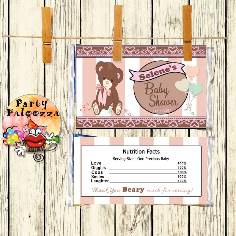 Printable Baby Bear baby shower water bottle label