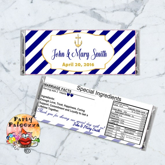 53ad856b18d3 Printable personalized Nautical Wedding Candy bar wrapper