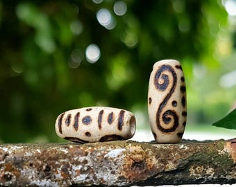 Spirals & Lines Wood-Burned Loc Bead (Rice Bead/Wooden Dread Beads/Loc Jewelry)