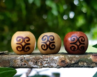 Strength Wood-Burned Loc Bead (Dwennimmen Adinkra Symbol Round Wooden Dread Beads/Loc Jewelry)
