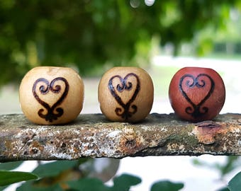 Sankofa Wood-Burned Loc Bead (Heart Sankofa Adinkra Symbol Round Wooden Dread Beads/Loc Jewelry)