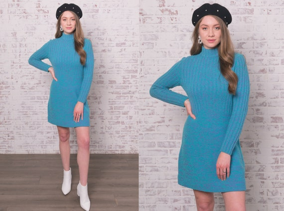 60s Knit Mini Dress Small - Medium Blue Purple Ro… - image 1