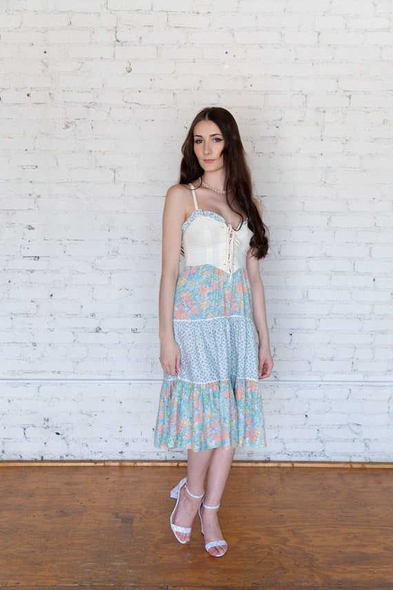 Vintage 1970s Lace Up Sundress XS Tiered Skirt Co… - image 5