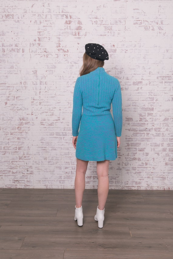 60s Knit Mini Dress Small - Medium Blue Purple Ro… - image 5