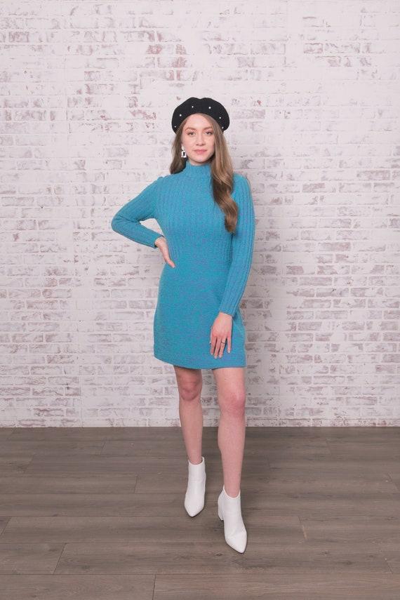 60s Knit Mini Dress Small - Medium Blue Purple Ro… - image 2