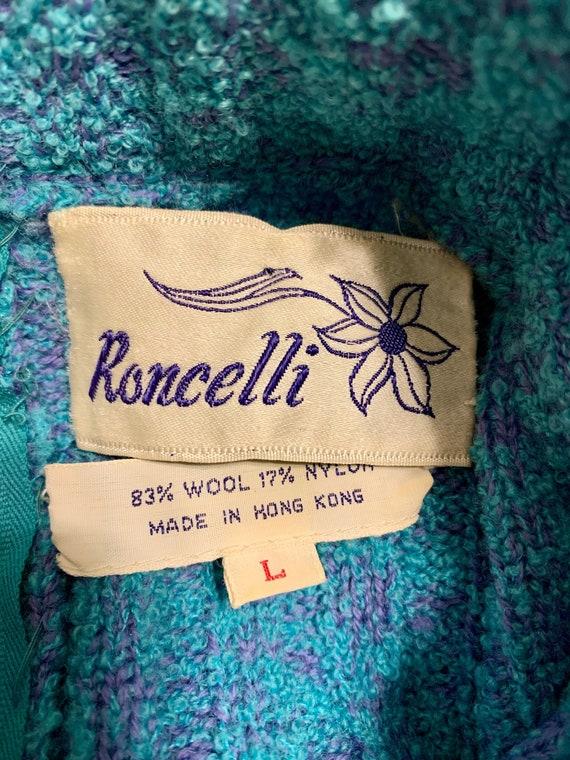 60s Knit Mini Dress Small - Medium Blue Purple Ro… - image 6