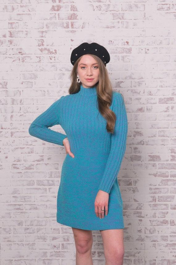 60s Knit Mini Dress Small - Medium Blue Purple Ro… - image 3