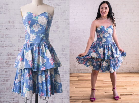 Vintage 1980s Laura Ashley Floral Ruffle Dress Siz
