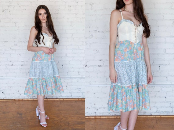 Vintage 1970s Lace Up Sundress XS Tiered Skirt Co… - image 1