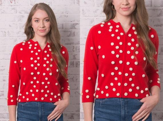 1950s Red Zip Front Pom Pom Cardigan Size Small Sn