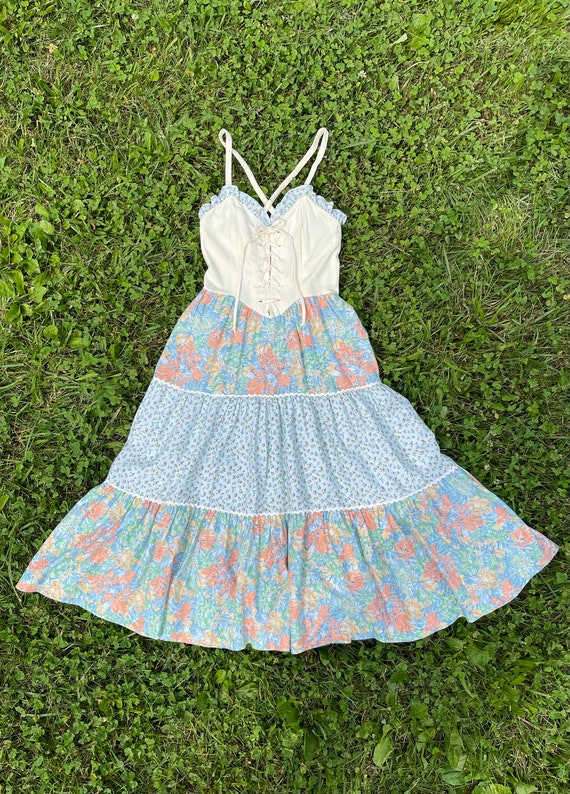 Vintage 1970s Lace Up Sundress XS Tiered Skirt Co… - image 3