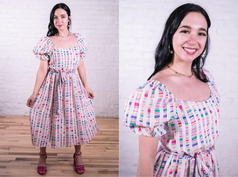 Vintage Puff Sleeve Dress Rainbow Stripe 1980s 26 Inch Waist 1980s David Morris Striped