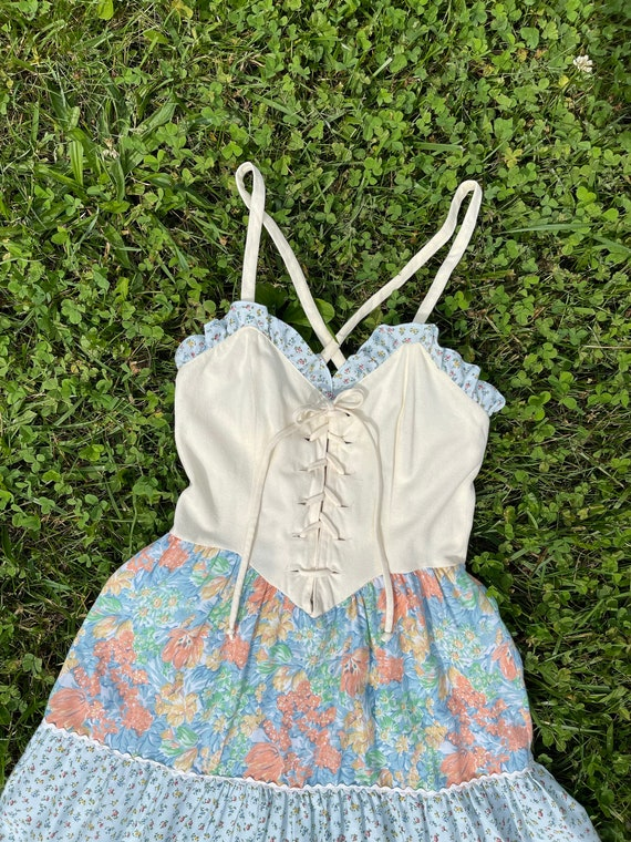 Vintage 1970s Lace Up Sundress XS Tiered Skirt Co… - image 4