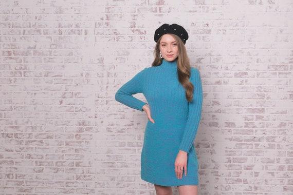 60s Knit Mini Dress Small - Medium Blue Purple Ro… - image 4