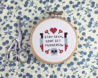"""My Favorite Murder """"Stay Sexy Don't Get Murdered"""" Completed Cross Stitch in Hoop"""