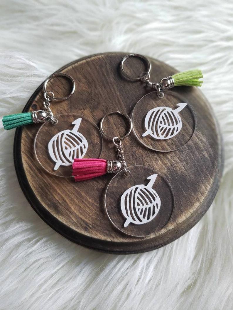 Acrylic keychain. Yarn Keychain. Crochet Keychain. Keychain image 1