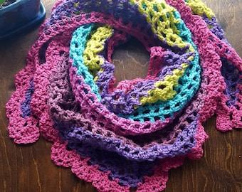 Crochet triangle scarf, crochet shawl