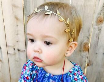 Boho Baby Headband, Gold Leaf Baby Headband, Baby Headband, Toddler Headbands, Gold Headband, Newborn Headband, Baby Girl Headband, Girls