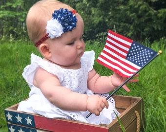 Fourth Of July Baby Headband, Baby Headband, Fourth of July Headband, Fourth of July Baby Girl, July 4th Headband, July 4th Baby Headband