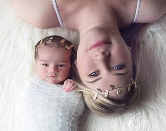Mom and Daughter Matching Headbands, Mommy and Me Headbands, Mother and Daughter Headbands, Gold Leaf Headband, Baby Headband, Newborn