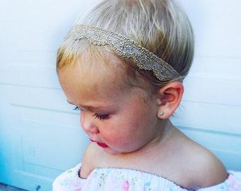 Flower Girl Headband, Baby Gold Lace Headband, Baby Headband Lace, Gold Baby Headband, Lace Crown Baby, Baby Headband, Lace Crown, Newborn