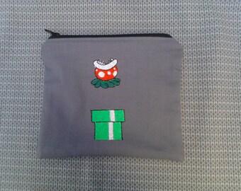 Mario Piranha Plant Embroidered Zipper Pouch