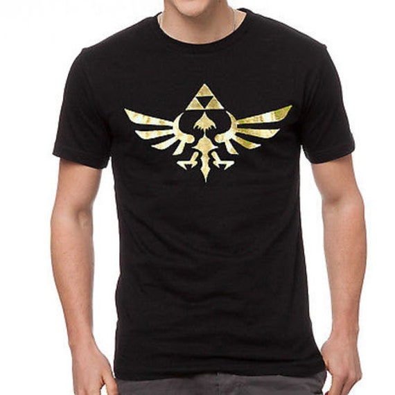 9427a1390 Men's Legend of Zelda Metallic Gold Triforce Logo T-Shirt | Etsy