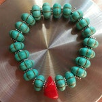 Southwest inspired turquoise & coral stretch bracelet