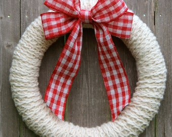 Ivory Knit Wreath with Red Plaid Bow, Hand Knitted Wreath, Christmas Knit Wreath