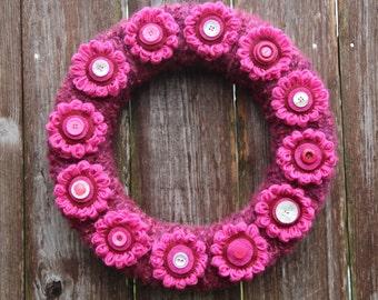 Pink Flower Wreath, Knitted Fuchsia Yarn Wreath, Girls Room Decor, Yarn Knitted Wreath