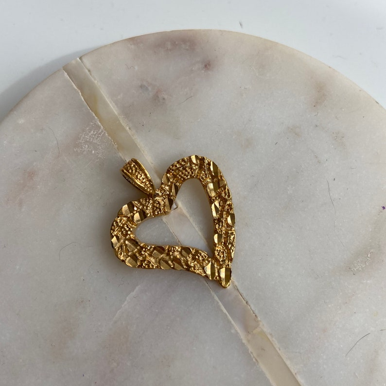 Textured Vintage Heart Pendant Gold Heart Charm