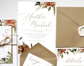Fall Harvest | Leafy Autumn Floral Wedding Invitation | Bohemian Leafy Earth tone burnt orange Watercolor Invite | Custom wedding invitation