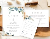 Bohemian Blue Floral Wedding Invitation | Beach Wedding Floral Wedding Stationery | Shades of Blue Watercolor Invitation Suite