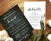 Elegant Chalkboard Wedding Invitation | Modern + Neutral Wedding Invite | Custom Invitation Suite wedding invitation