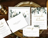 Lush Greenery + Pampas Grass Wedding Invitation | Elegant Bohemian Green & Gold, Neutral Watercolor Invite | Custom Invitation Suite